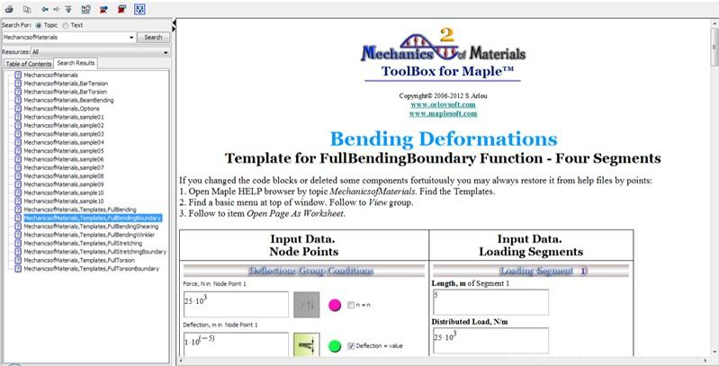 Beam Bending with Boundary Conditions Template for four segments.